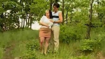 Big Boobs Plus-Size Woman Get Located Inside The Wood