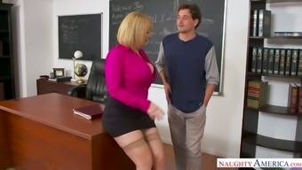 Giant Breasted Milf Sara Jay Blows Dick And Rides Cock On The Table