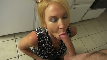 Mature Whore Erica Lauren Is All Smiles And Cheers And She Loves Kitchen Sex