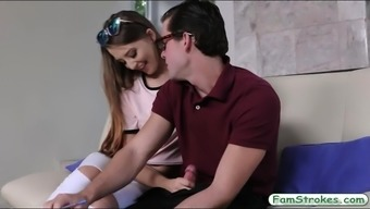 Teenie Avery Adair Chastisize By Her Stepbro Located On The Couch