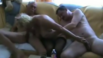 Wrinkled Soft Bodied Brown Housewife Drains A Couple Of Old Cocks (Fmm)