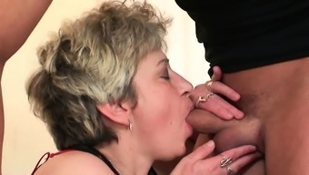 Two Males Impart Mature Moaner