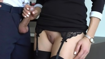 Beautiful Counter In Stockings Makes Supervisor Sperm With Her Gown In Place Of Work