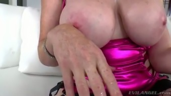 Well Shaped Brunette Bitch In Fishnets Is Gonna Please Her Man With Strapon